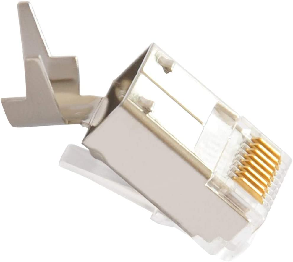 ShineBear ethernet Cable Connector rj45 Plug cat6 Network rj 45 8p8c Modular cat 6 terminals STP Shielded Gold Plated 50u Cable Length: 100pcs