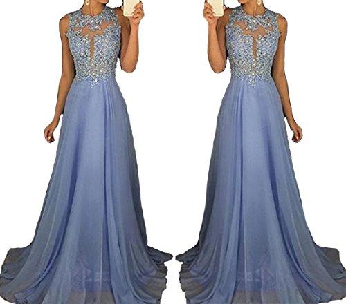 Half Flower Bridal Chiffon Evening Dress Applique Hollow Prom Dress Scoop Long Party Dress Style 4 Purple US4