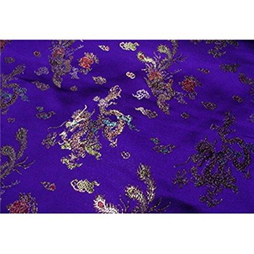 Chinese Faux Silk Dragon Peacock Brocade Satin Fabric Sold By The Yard (Dark Purple) ()