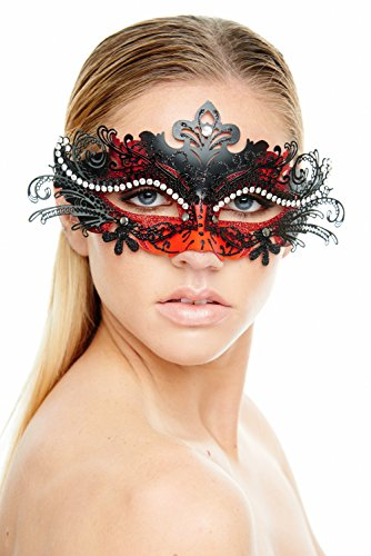 KAYSO INC Exclusive Eyes of Angel Laser Cut Masquerade Mask, Black & Red - Black And Red Masquerade Mask