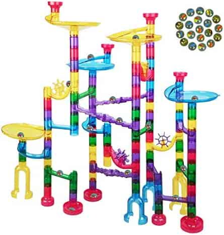 Meland Marble Run - 127Pcs Marble Maze Game Building Toy for Kid, Marble Track Race Set&STEM Learning Toy Gift for Boy Girl Age 4 5 6 7 8 9+ (90 Translucent Marbulous Pcs & Glass Marbles)