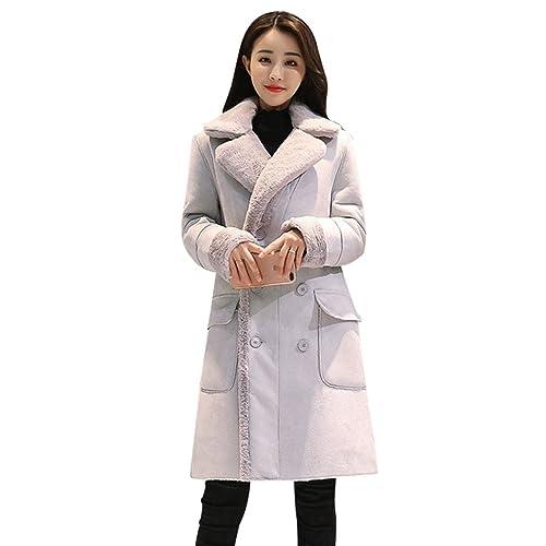 YuanDian Mujer Chaqueta Espesar Cálido Invierno Abrigo de Piel Sintética Solapa Doble Pecho Larga Abrigo