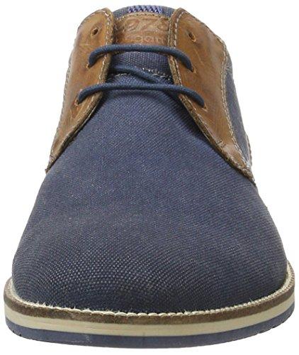 Bugatti 311256056910, Zapatos Derby Hombre Azul (Dark Blue/Cognac 4163)
