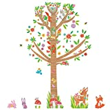 Decowall DM-1603 Large Tree and Animals in Woodland Kids Wall Decals Wall Stickers Peel and Stick Removable Wall Stickers for Kids Nursery Bedroom Living Room