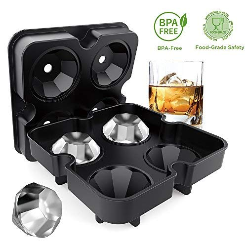 Ice Cube Trays with Lids, Diamond-Shaped Silicone BPA-Free Stackable Easy Release Ice Molds Multifunctional Storage Containers for Ice, Whiskey, Candy and Chocolate by Bella Vino -