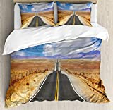 What Are the Measurements of a California King Size Bed USOPHIA United States 4 Pieces Bed Sheets Set King Size, Highway in California Steppe and Clouds Asphalt Road Horizon Hills Journey Floral Duvet Cover Set, Multicolor