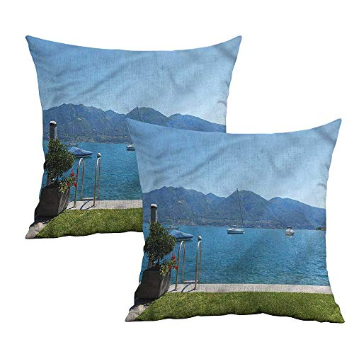 Khaki home Landscape Square Custom Pillowcase Terrace Lake Green Garden Square Zippered Pillowcase Cushion Cases Pillowcases for Sofa Bedroom Car W 16
