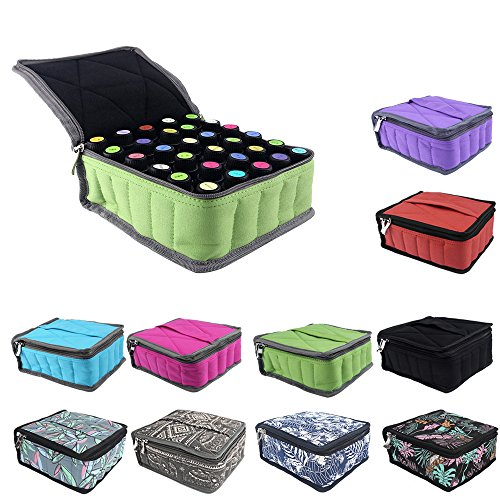 pureGLO Essential Oil Case to Protect Your Precious Oils - Holds 30 Bottles (5ml, 10ml & 19ml) - Perfect for Travel or Storage (Green)