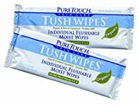 PureTouch Tush Wipes ORGANICS / NATURALS for adults 24 Individual Flushable Moist Wipes / 6 boxes (144 Single-Use-Packets) 20% OFF