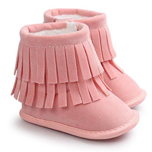 Babyschuh Longra Baby Mädchen Double-deck Quasten Stiefel Schuhe weiche Sohle Stiefel Prewalker warme Lauflernschuhe Krippeschuhe (0-18 Monate Baby) Pink