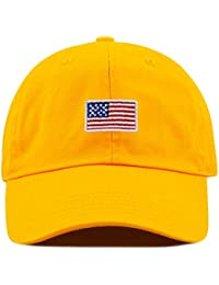 00495333e2a Kids American Flag Washed Low Profile Cotton and Denim Baseball Cap Hat