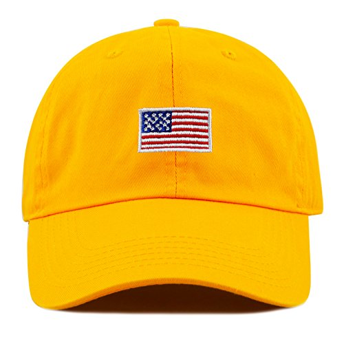 THE HAT DEPOT Kids American Flag Washed Low Profile Cotton and Denim Plain Baseball Cap Hat (2-5yrs, - Size 2 Usa