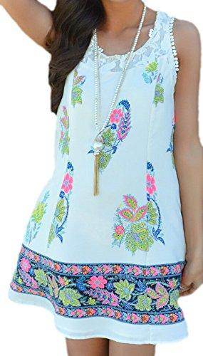 erdbeerloft - Damen Kleid Mini Blumen Spitze, 36-42, Mehrfarbig