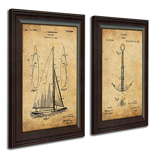 Personal Prints Nautical Sailing Vintage Patents – Sailboat, Anchor 2pc Set