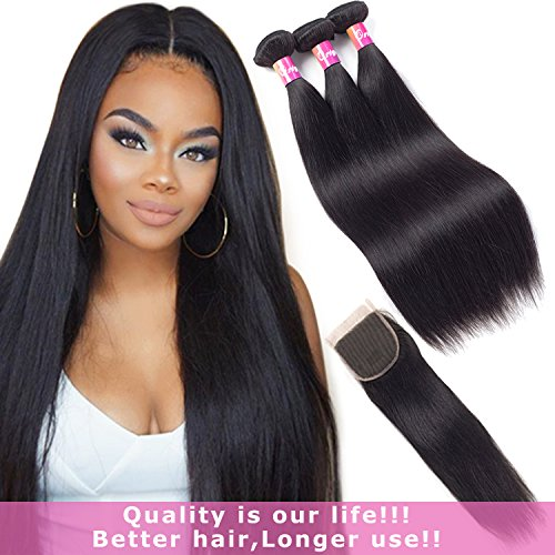 "Originea Malaysian Hair with Closure 9A Remy Hair with Closure 121416+10 Straight Hair 3 Bundles with Free Part Lace Closure Natural Color(12""14""16""with10""closure)"