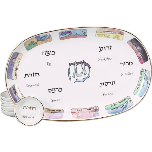Passover Porcelain Seder Plate and Matching Plates in Ten Plagues Design Israel Giftware Designs COMINHKPR19920