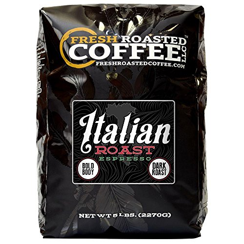 Fresh Roasted Coffee LLC, Italian Roast Espresso Coffee, Whole Bean, 5 Pound -