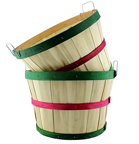 Round Wooden Half Bushel Baskets (2-Pack); Large Wood Farm Market Baskets for Decorating, Gardening, & Fall Seasonal Displays ( Natural w/ Red & Green Bands, Tall)