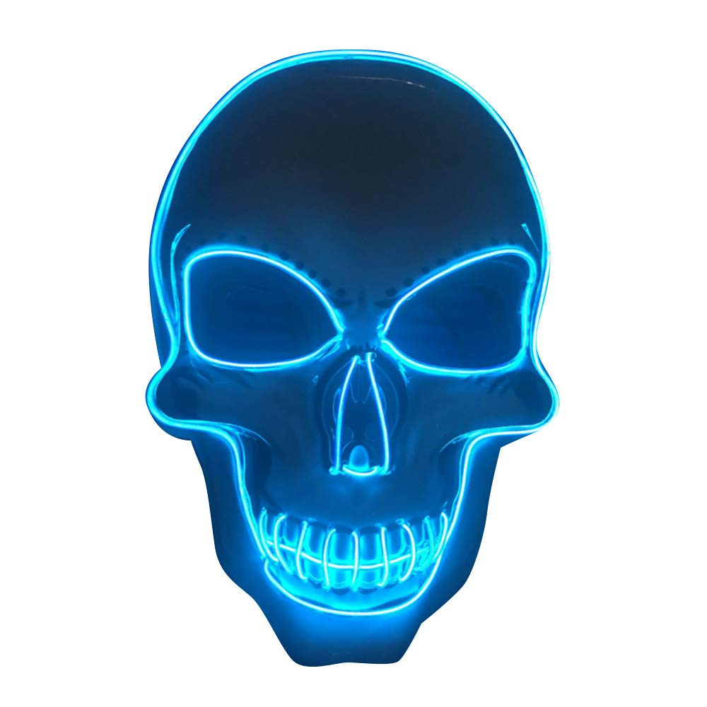 Blu SOUTHSKY LED Maschera Cranio Faccia Maschera Luminosa Maschera Notte Luce Neon El Wire Light Up 3 Modes for Halloween Costume Cosplay Party