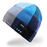Mydeal Men Women Bluetooth Audio Music Beanie Hat Cap with Stereo Speaker Headphones, Microphone, Hands Free and Rechargeable Battery for Cell Phones, iPhone, iPad, Tablets, Android Smartphones - Blue