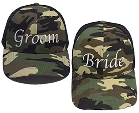 Premium Bride And Groom Camo Trucker Hats Perfect For Bride Groom Bachelorette Parties Bachelor Parties And Wedding Gift Ideas