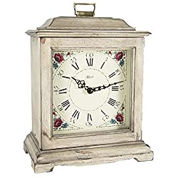 Qwirly Store: German Austen Bracket-Style Quartz Mantel Clock by Hermle 22518WHQ, Antique White