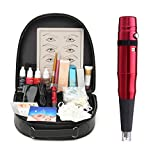 Eyebrow Tattoo Kit, 3D Professional Complete Rotary Eyebrow Eyeliner Lip Tattoo Machine Kits, Permanent Makeup Set (Red)
