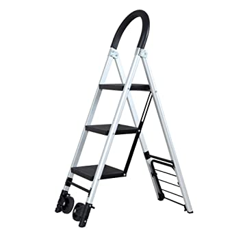 Multifuncional Escalera de polea, almacén Escalera muda Escalera de transporte familiar Escalera portátil de metal