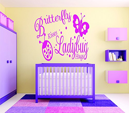 Design with Vinyl RAD 717 2 Butterfly Kisses Ladybug Hugs Baby Girl Bedroom Wall Decal, Pink, 16 x - Butterfly Girls Ladybug Pink