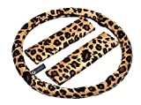 zebra tire cover - Zone Tech Plush Velour Shaded Cheetah Vehicle Steering Wheel Cover Soft Feel Animal Print Universal Fit Attractive Slip On Car Wheel Protector