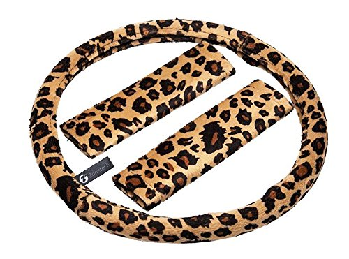 Steering Covers Wheel Superior (Zone Tech Plush Velour Shaded Cheetah Vehicle Steering Wheel Cover Soft Feel Animal Print Universal Fit Attractive Slip On Car Wheel Protector)