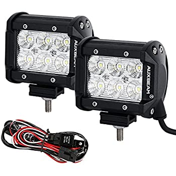 amazon com auxbeam 13 5 led light bar spot philips driving light auxbeam led light bar 2 pcs 4 18w led pods cree led flood beam driving light waterproof wiring harness
