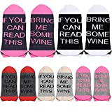 5 Pairs Women's If You Can Read This Wine Taco Pizza Funny Party Socks, No Show (Wine, 5)