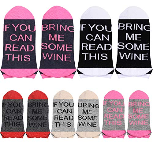 5 Pairs Women's If You Can Read This Wine Taco Pizza Funny Party Socks, No Show (Wine, 5) (Bring Me A Glass Of Wine Socks)