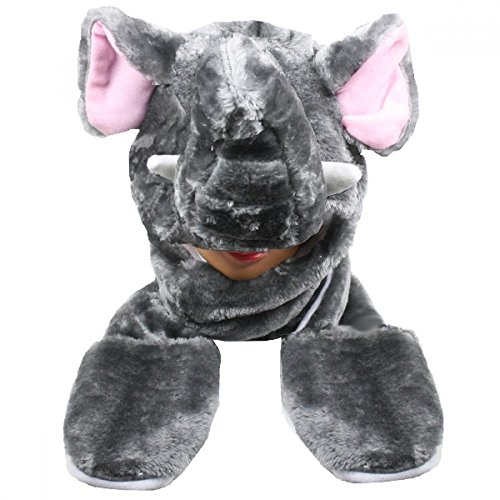 Price comparison product image Elephant_(US Seller)New Plush Cartoon Hat Long Warm Full Hoodie Hat