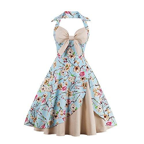 Vintage Halter Cocktail Dress 1950S Retro Swing Homecoming Dresses Floral Print Size M