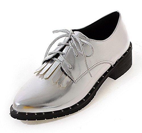 VogueZone009 Damen Niedriger Absatz PU Leder Rein Schnüren Spitz Zehe Pumps Schuhe Silber