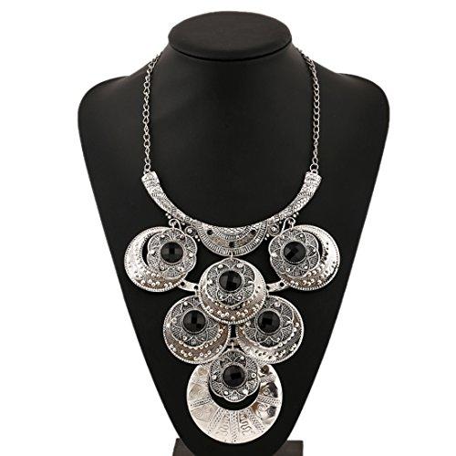 Souarts Femme Bijoux Parures Collier Chaine Clavicule Plastron Pendentif Fleur Multi Rangs Style Ethnique Bohemian Couleur Argent vieilli
