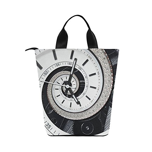 Unique Debora Custom Nylon Lunch Tote Bag Reusable Lunch Bag Food Savers Food Containers for Futuristic Modern Strass Diamond White Clock ()