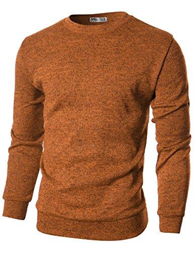 - Ohoo Mens Slim Fit Light Weight Crew-Neck Pullover Sweater/DCP029-ORANGE-S