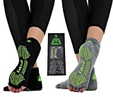 FITLEAF Toeless Yoga Socks for Women – Non Slip Grip Half Toe Socks for Pilates, Ballet, Barre – 2 Pairs