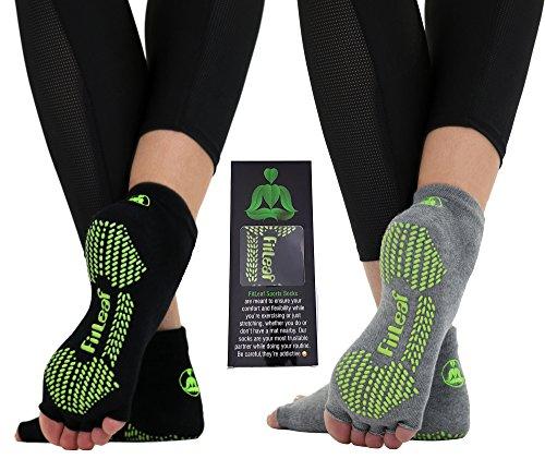 FITLEAF Toeless Yoga Socks for Women - Non Slip Grip Half Toe Socks for Pilates, Ballet, Barre - 2 Pairs