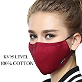 ZWZCYZ Masks Dust Mask Anti Pollution Mask PM2.5 4 Layer Filter Insert Can Be Washed Reusable Masks Cotton Mouth Mask for Men Women (Medium(Women's), Christmas Wine Red)