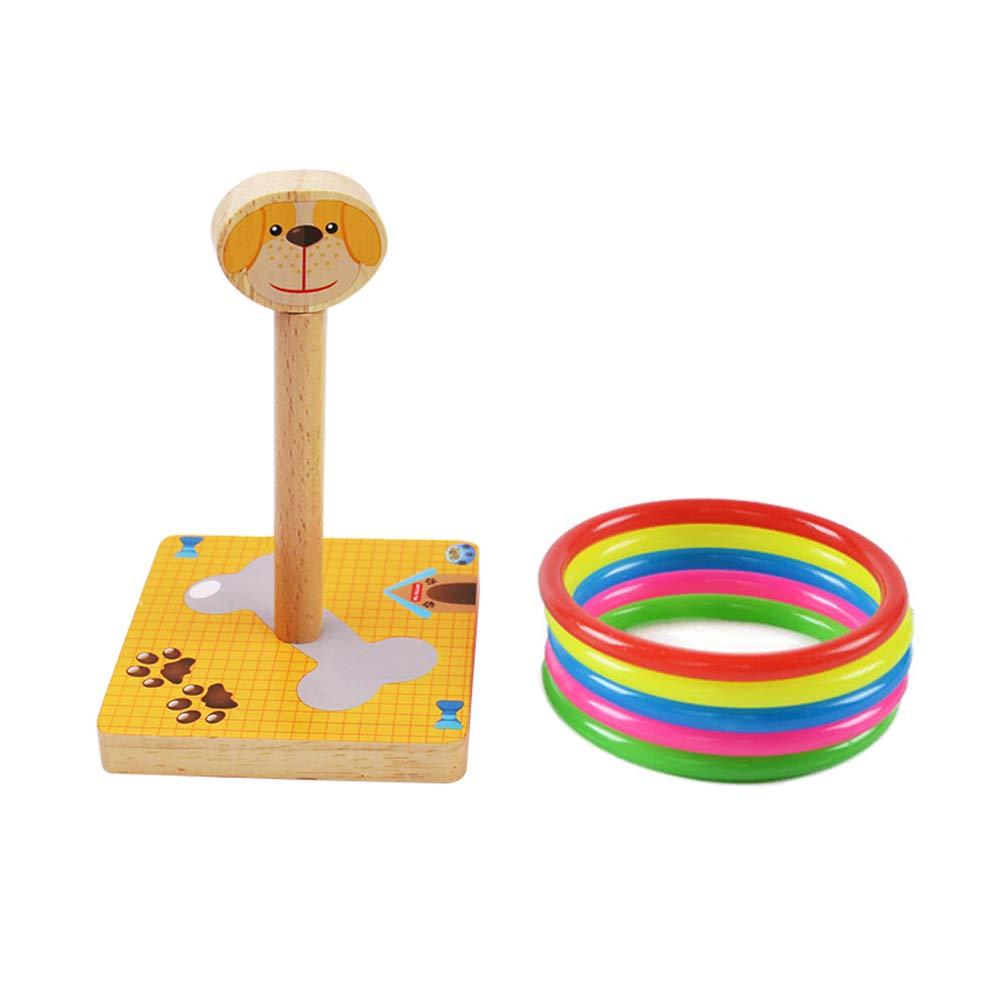 MansWill Ring Wurf Spiel Set für Kinder, Holz Eltern-Kind-Familie Spaß Loop Werfen Spielzeug für Kinder Erwachsene / Drinnen & Draußen Tier Quoits Spiele mit 5 Kunststoff Ringe - Hase