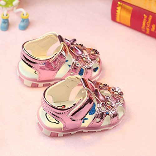 Zhhlinyuan Fashion Toddler Lighted Soft-Soled Princess Shoes Girls Sandals Bright Color Pink