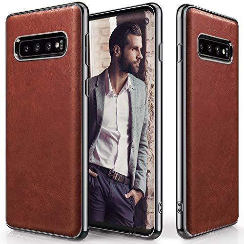 Galaxy S10 Case, LOHASIC Premium PU Leather Slim & Thin Luxury Soft Flexible Full Body Anti-Slip Grip Scratch Resistant Protective Cover Cases for Samsung Galaxy S10 (2019) - Brown