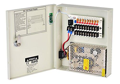 Lapetus 8 Channel 9 Port Power Box Security Camera 12V DC 5A Ampere CCTV DVR Power Supply Switch Box Key Locked ()
