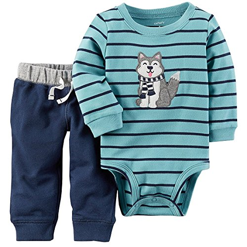 Infant 2 Piece Pant (Carter's Baby Boys' 2 Piece Striped Dog Graphic Bodysuit And Pants Set 18 Months)