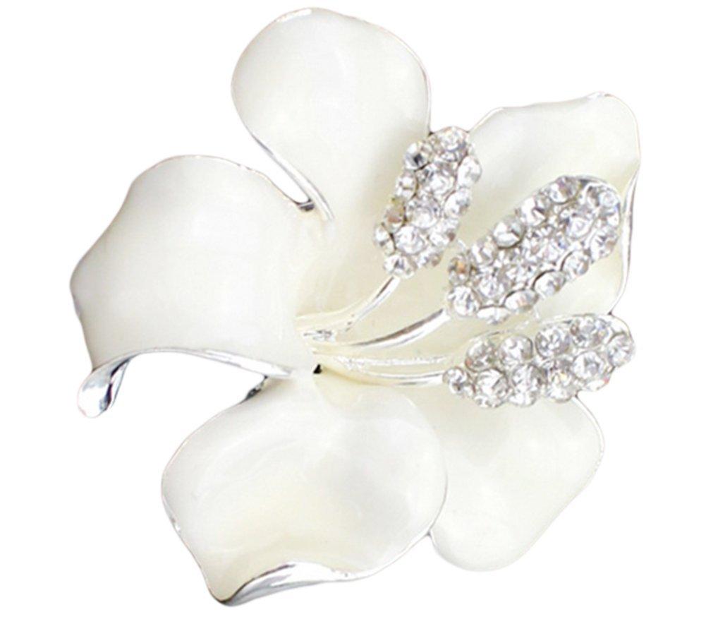 Westeng metallo spilla di strass giglio bianco sposa matrimonio Natale spilla pin corpetto per camicia maglione