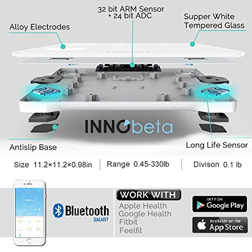 Smart Body Fat scale, Digital de escala de peso corporal IMC Calculadora, Bluetooth, analizador de la composición corporal, alta precisión Báscula de baño, ...